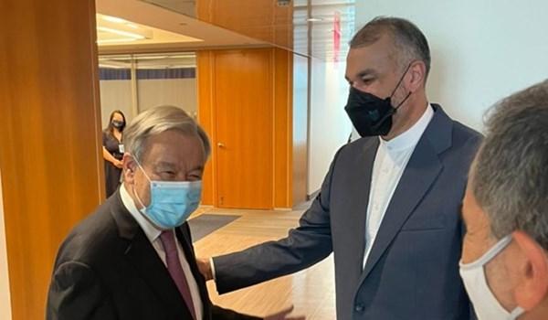 امير عبداللهيان يلتقي مع الامين العام للامم المتحدة